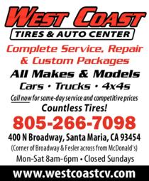 Print Ad of West Coast Tires & Auto Center