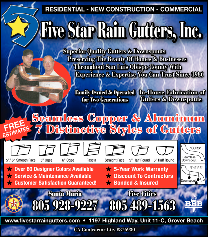 Print Ad of Five Star Rain Gutters Inc